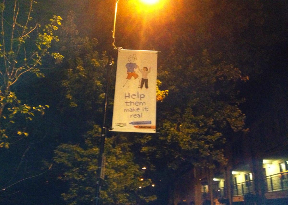 adoption lamp post banner