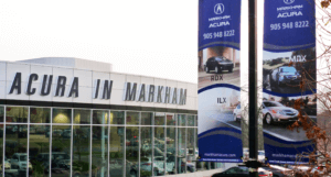 lamppost banners for acura in markham