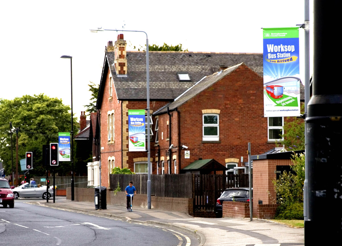 outdoor media lamp post banners
